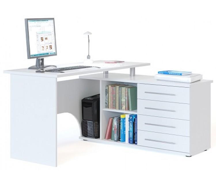Компьютерный стол Тэкс Грета-16 правый белый