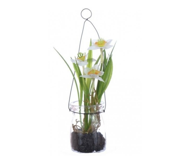Искусственное растение Альта нарцисс в стекле