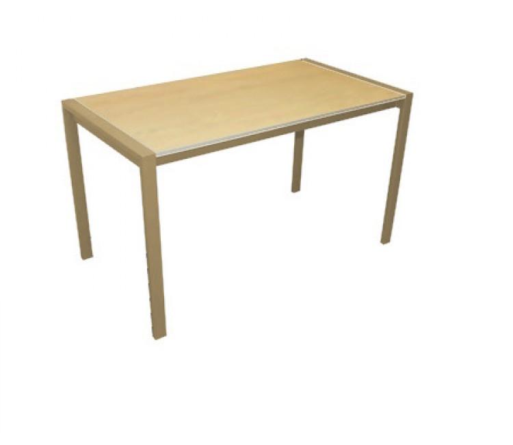 Обеденный раздвижной стол ДревПром Кастел 70х120 (160) сонома бежевый мрамор