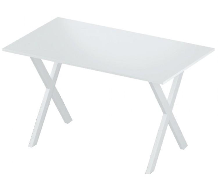 Стол нераздвижной 74х128 Альта LOFT X белый мат опора белая