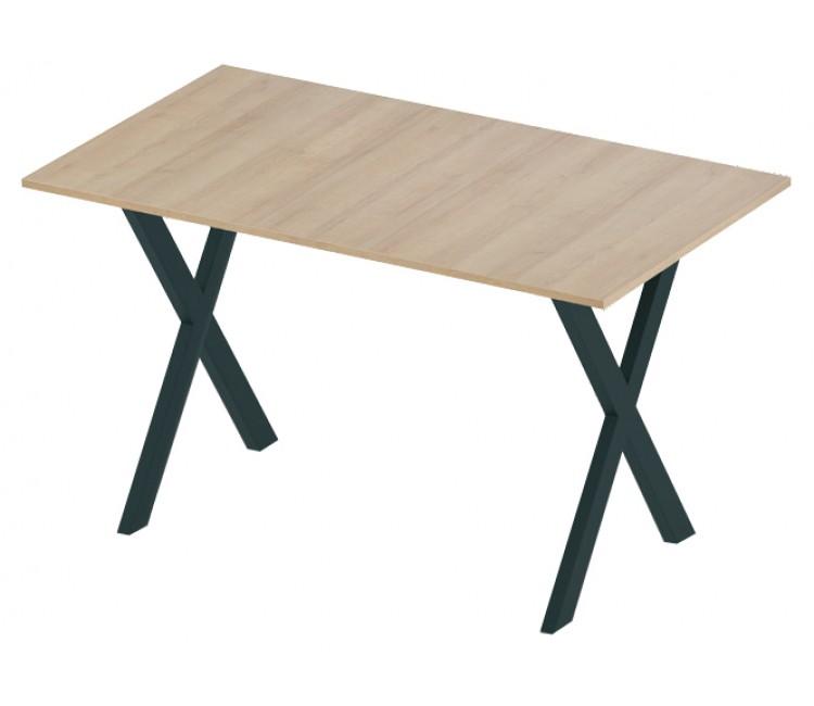 Стол нераздвижной 74х128 Альта LOFT X сосна янтарная опора черная