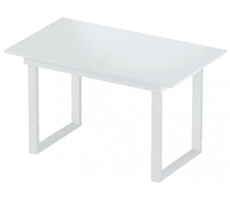 Стол раздвижной 74х128(168) Альта LOFT белый мат