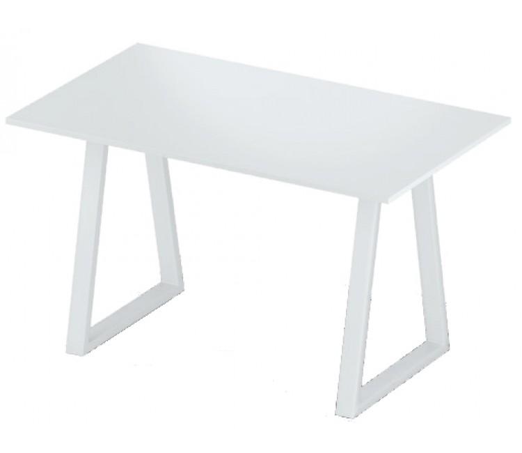Стол нераздвижной 74х128 Альта LOFT U белый мат опора белая