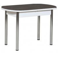 Раздвижной стол Форт Европейский 32 черная кожа белый ноги хром