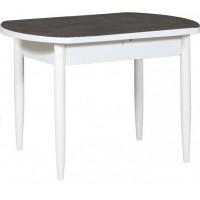 Раздвижной стол Форт Европейский 32 черная кожа белый ноги конус