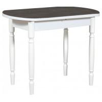 Раздвижной стол Форт Европейский 32 черная кожа белый ноги точеные