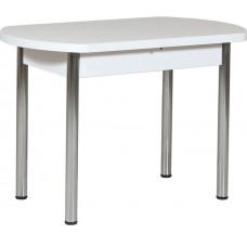 Кухонный стол Форт Европейский белый матовый ноги хром