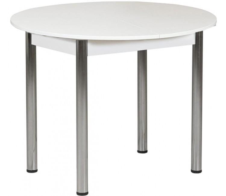 Раздвижной стол Форт Круглый белый ноги хром