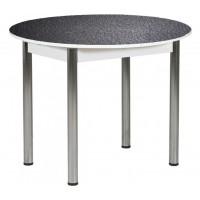 Раздвижной стол Форт Круглый черная кожа ноги хром