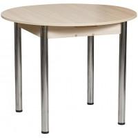 Раздвижной стол Форт Круглый шимо светлый ноги хром