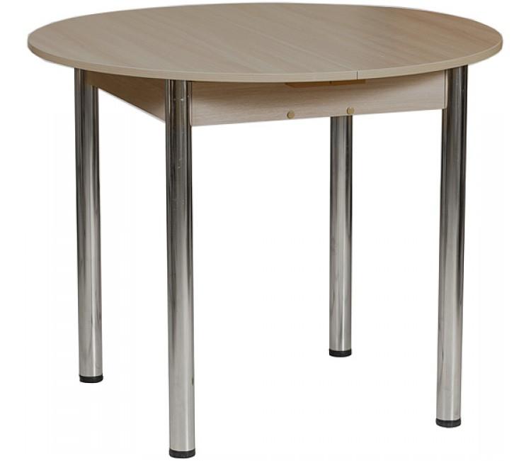 Кухонный обеденный раздвижной стол Форт Круглый дуб сономма темный ноги хром