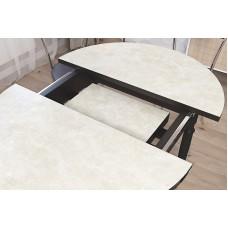 Кухонный обеденный раздвижной стол Форт Круглый дуб сонома темный ноги хром
