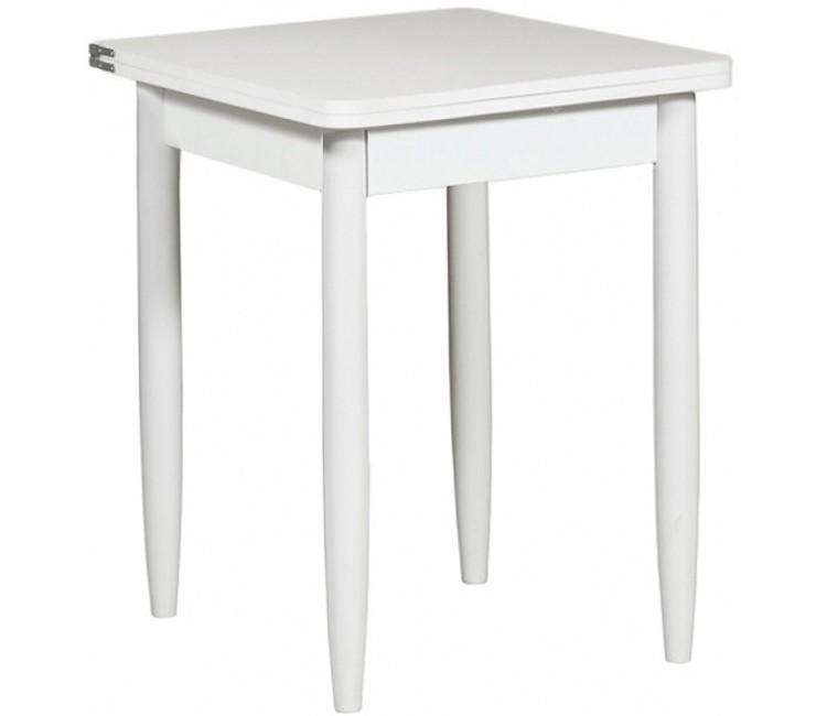 Кухонный обеденный раскладной стол Форт Ломберный 60х60 белый текстурный ноги конус
