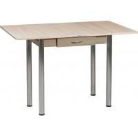 Раздвижной стол Форт Ломберный с ящиком 80х60 шимо светлый шимо темный ноги хром