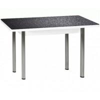 Раздвижной стол Форт Прямоугольный 32 черная кожа ноги хром