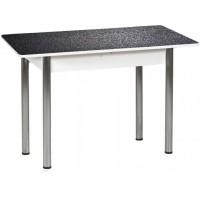 Раздвижной стол Форт Прямоугольный черная кожа ноги хром