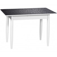 Раздвижной стол Форт Прямоугольный черная кожа ноги конус