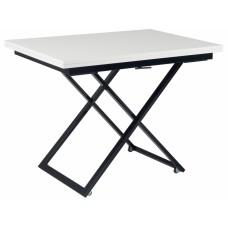 Стол-трансформер журнально-обеденный Levmar Compact белый глянец/черные опоры