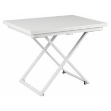 Стол-трансформер журнально-обеденный Levmar Compact белый глянец/белые опоры