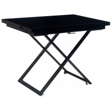Стол-трансформер журнально-обеденный Levmar Compact черный глянец/черные опоры
