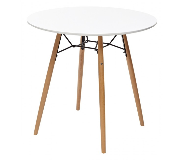 Стол обеденный нераскладной CLIDE Клайд круглый белый D90 см