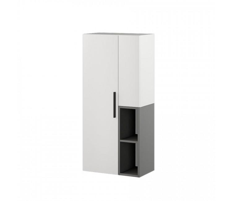 Шкаф-пенал настенный Альберо белый/графит серый