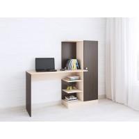 Компьютерный стол Тэкс Квартет-6 + стеллаж + шкаф венге цаво / дуб молочный