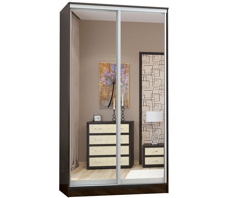 Купить шкаф Тэкс Комфорт-2 венге 2 зеркала комбинированный платяной со штангой для одежды  в спальню в Минске