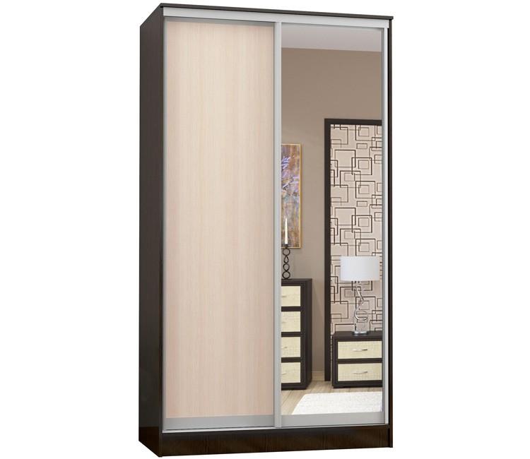 Купить шкаф Тэкс Комфорт-2 1450 венге / дуб молочный 1 зеркало комбинированный платяной со штангой для одежды  в спальню в Минске