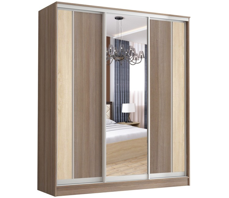 Купить шкаф Тэкс  Комфорт-3 шимо+вставка 1 зеркало комбинированный платяной со штангой для одежды  в спальню в Минске