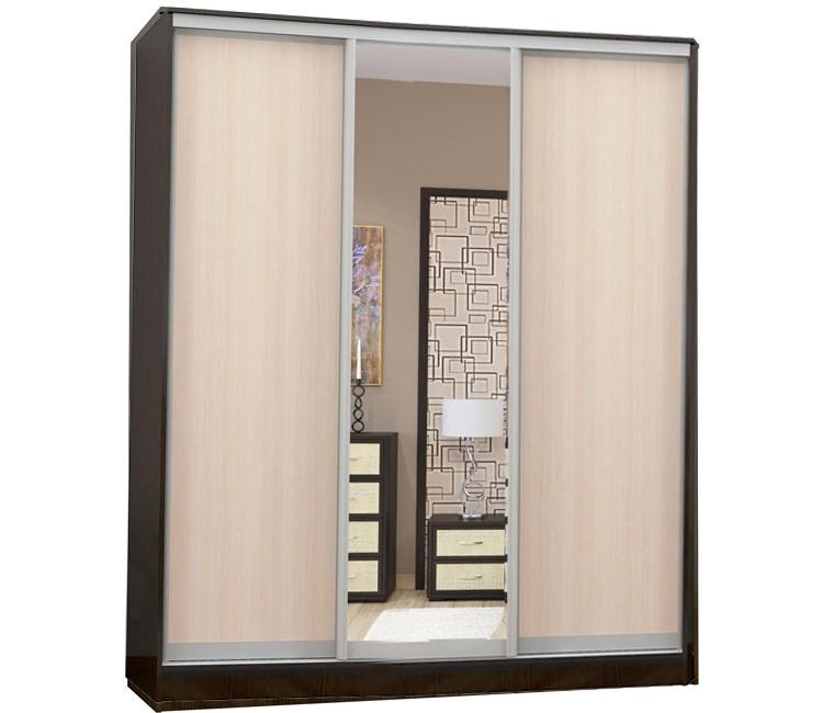 Купить шкаф Тэкс  Комфорт-3 венге / дуб молочный 1 зеркало комбинированный платяной со штангой для одежды  в спальню в Минске