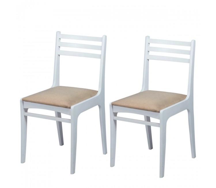 Комплект стульев С8  (2шт) белая эмаль/аполло беж