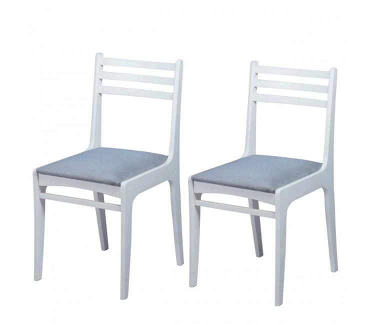 Комплект стульев С8  (2шт) белая эмаль/твист графит
