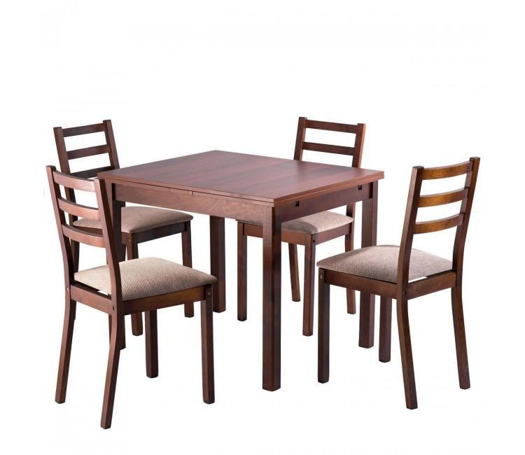 Обеденная группа №6 Стол Ст01 грецкий орех/ноче мария луиза + 4 стула С39М3 грецкий орех/аполло браун