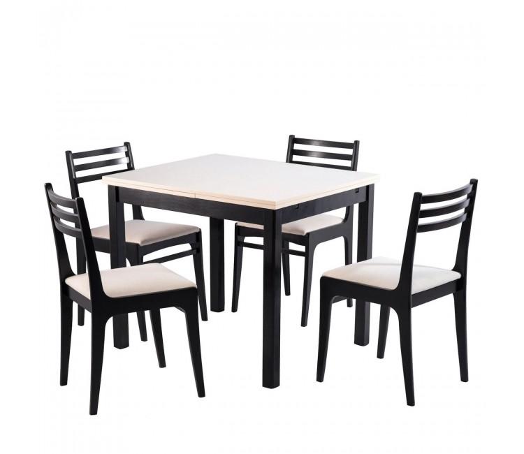 Обеденная группа №2 Стол Ст01 венге/валенсия+ 4 стула С8 венге/аполло линен