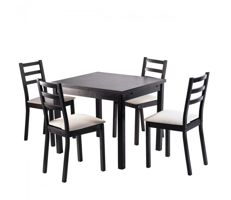 Обеденная группа №4 Стол Ст01 венге + 4 стула С39М3 венге/аполло линен