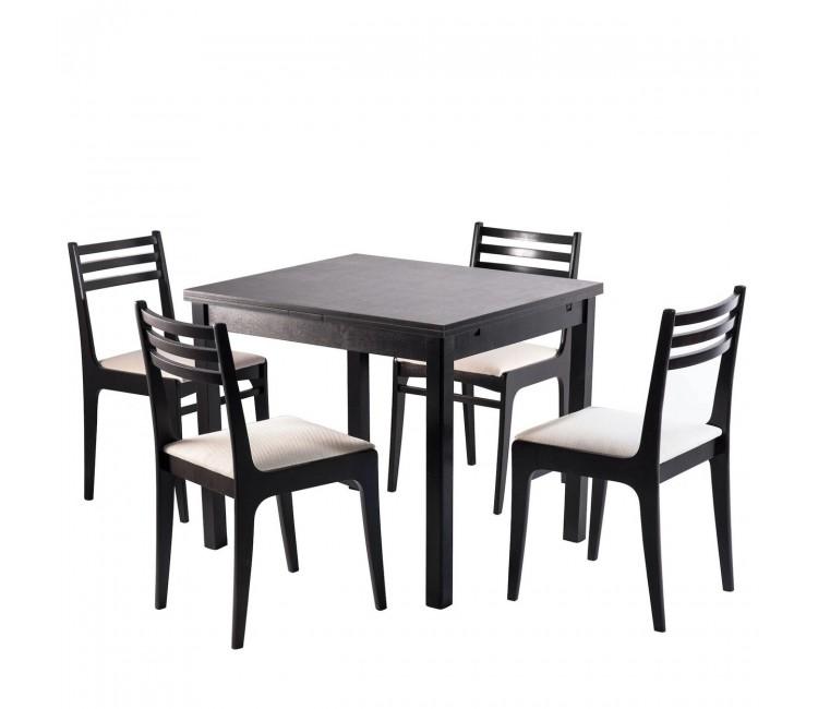 Обеденная группа №1 Стол Ст01 венге + 4 стула С8 венге/аполло линен