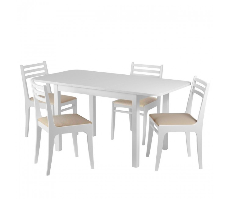 Обеденная группа №10 Стол Ст03Б1 белый/рамух + 4 стула С8 бел.эмаль/аполло беж