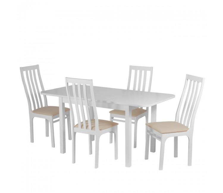 Обеденная группа №9 Стол Ст03Б1 белый/рамух + 4 стула С36 бел.эмаль/аполло беж