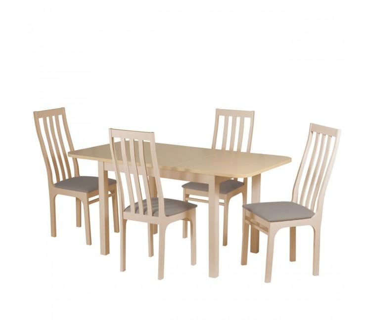 Обеденная группа №8 Стол Ст03Б1 сл.кость/дуб сонома + 4 стула С36 сл.кость/аполло мокка