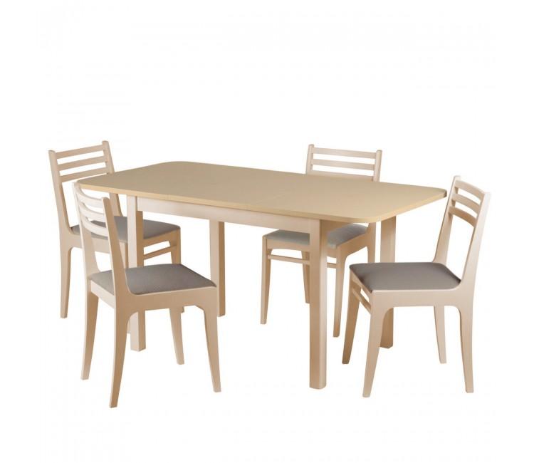 Обеденная группа №7 Стол Ст03Б1 сл.кость/дуб сонома + 4 стула С8 сл.кость/аполло мокка