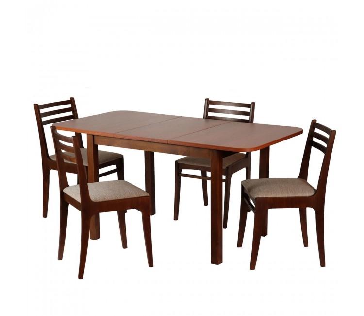 Обеденная группа №13 Стол Ст03Б1 грецкий орех/ноче мария луиза + 4 стула С8 грецкий орех/аполло браун