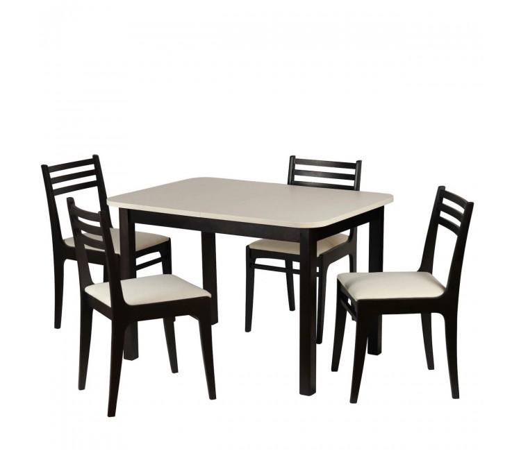 Обеденная группа №15 Стол Ст03Б1 венге/валенсия+ 4 стула С8 венге/аполло линен