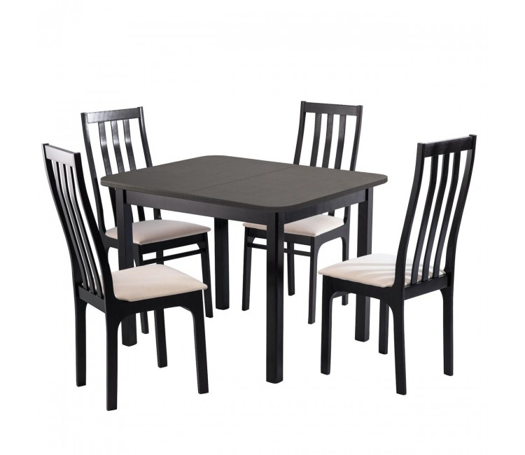Обеденная группа №12 Стол Ст03Б1 венге + 4 стула С36 венге/аполло линен