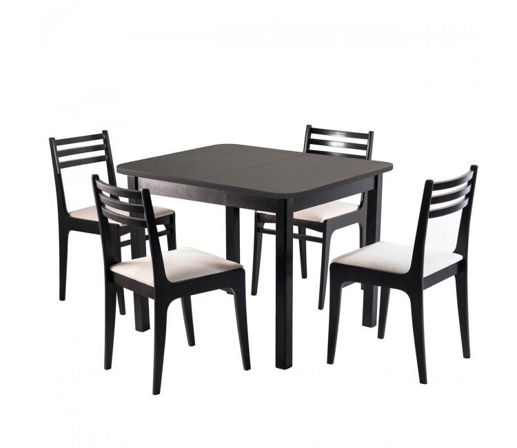 Обеденная группа №11 Стол Ст03Б1 венге + 4 стула С8 венге/аполло линен
