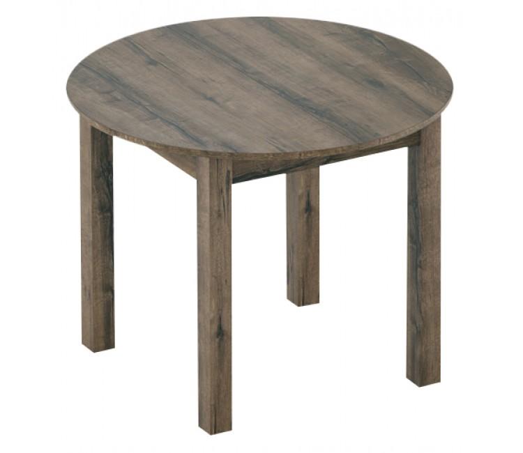 Стол кухонный обеденный круглый раздвижной Элигард MOON тик рустикальный d=98см