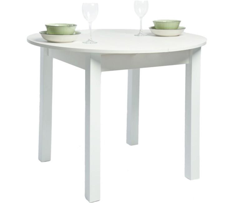 Кухонный обеденный раздвижной стол Круглый белый текстурный ноги конус