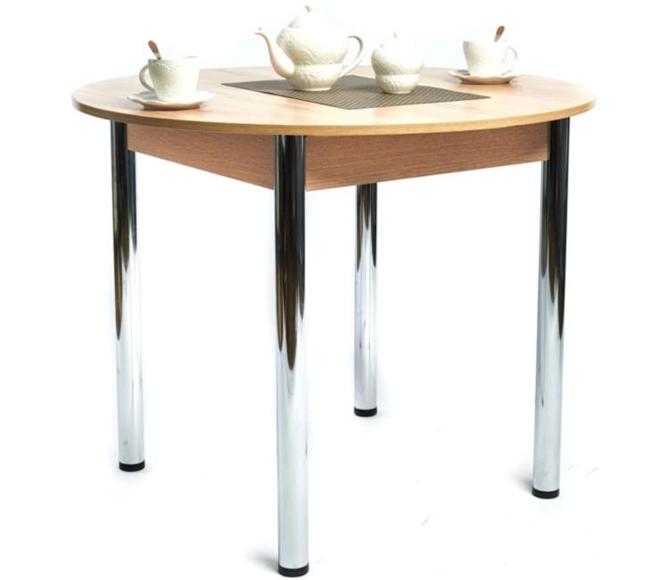 Кухонный обеденный раздвижной стол Круглый дуб сонома светлый ноги хром