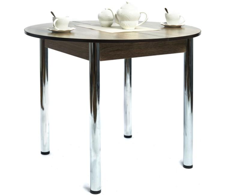 Кухонный обеденный раздвижной стол Круглый дуб сономма темный ноги хром