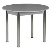 Стол круглый 94х94/120 см серый ноги хром кухонный обеденный раздвижной